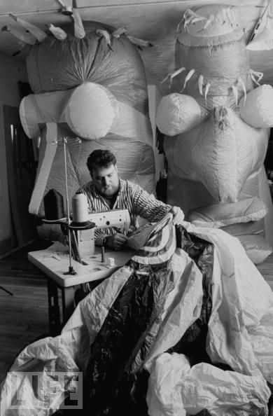 Jon Goldman sewing an inflatable sculpture